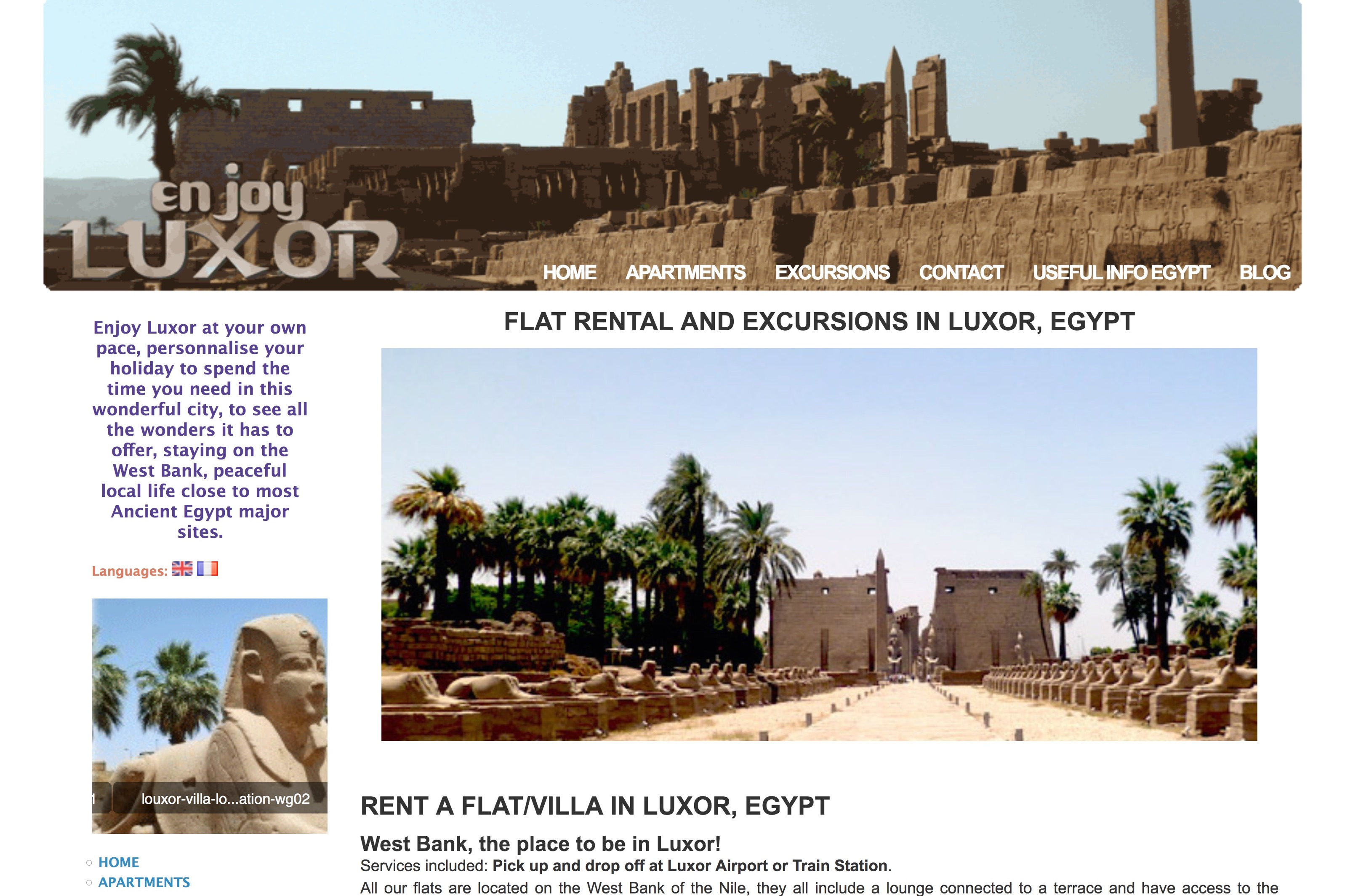 création de site internet : EnjoyLuxor.com par Black Virgin. www.blackvirgin.fr
